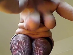 curvy milf strip in fishnets